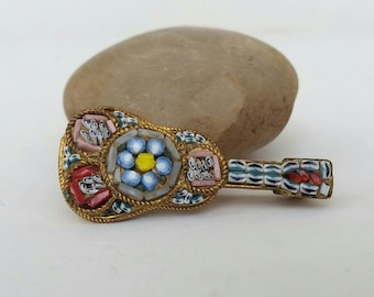 Micromosaic Brooch Mandolin Vintage Mid Century Micro Mosaic Jewelry Mille Flori Gift For Musician Mandolin Pins Uk