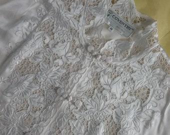 Vintage 60s 70s Coventry white ecru silk Battenburg lace blouse - Asian style