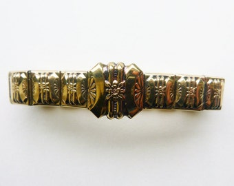 Circa 1940s WWII expansion bracelet yellow gold fill on sterling repousse geometric design