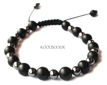 Tibetan fine onyx and hematite bracelet