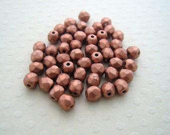 Set of 50 4 mm Lt. Copper Metallic - F4-0566