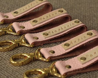 Leather keychain pink- Leather Keychain - Key Fob Pink