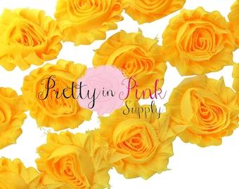 YELLOW  Shabby Rose Trim - Shabby Chiffon Rosettes - 1/2 Yard or 1 Yard - Shabby Flower Trim - Wholesale Shabby Flower - Chiffon Flower