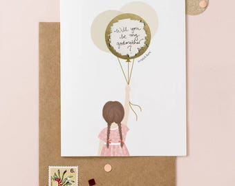 Little Girl Ask Be My Godmother - Scratch Off Card - Write Your Message - Available with Blond, Brown & Black Hair