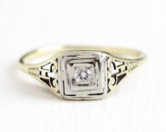 Sale - Vintage Diamond Ring - 1930s Art Deco 14k Yellow & White Gold .06 Carat Size 7 - Filigree Fine Engagement Bridal Two Tone Jewelry