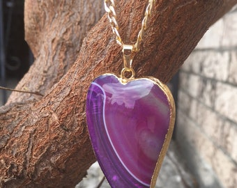 Hot Pink Heart Onyx Agate Necklace, Hot Pink Onyx Necklace, Agate Necklace, Heart Neckalce, Mother's Day Gift