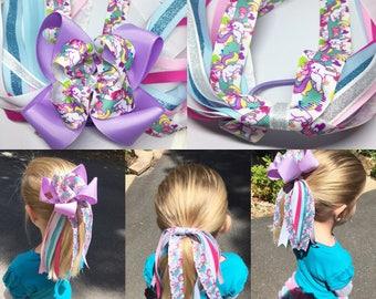Unicorn pony streamer, Ponytail accessories, Pony holder, Ponytail Streamer, unicorn bow, Hair Streamer, Ponytail holder, Hair Tie, Ponytail