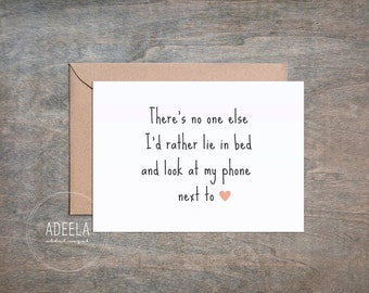 "No one else for me, Lay in bed, Notecard, Greeting Card, Message Card, Digital Instant Download, Valentines/Birthday/Anniversary - 5x7"" Card"