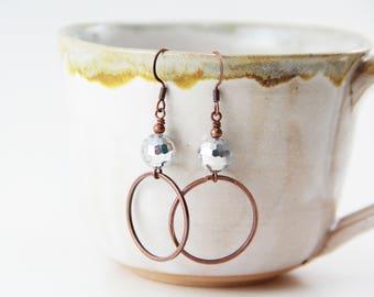 Glass Crystal and Copper Boho Earrings
