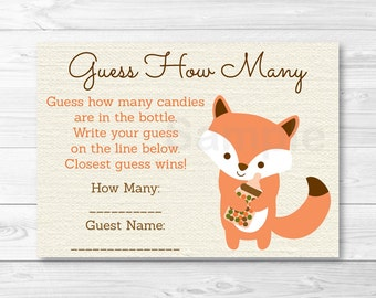 Woodland Fox Guess How Many Baby Shower Game / Woodland Baby Shower / Candy Guessing Game / PRINTABLE INSTANT DOWNLOAD A187