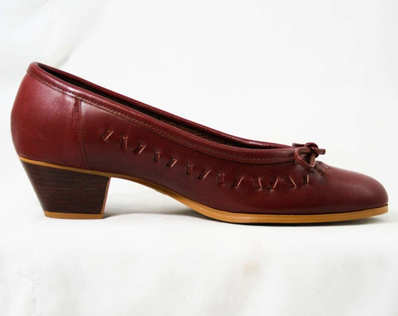 Size Deadstock 4 Pumps 5 Heels 8 43149 Stacked Leather Wood Leather 1980s M Oxblood Quality Fine Beautiful Sophisticated Shoes awarUqx0F
