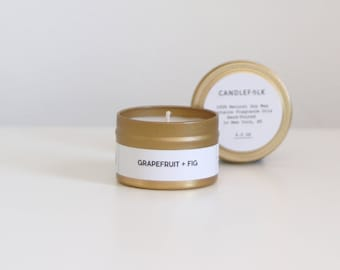 GRAPEFRUIT + FIG - 4 oz Travel Soy Candle - Hand-Poured - Candlefolk