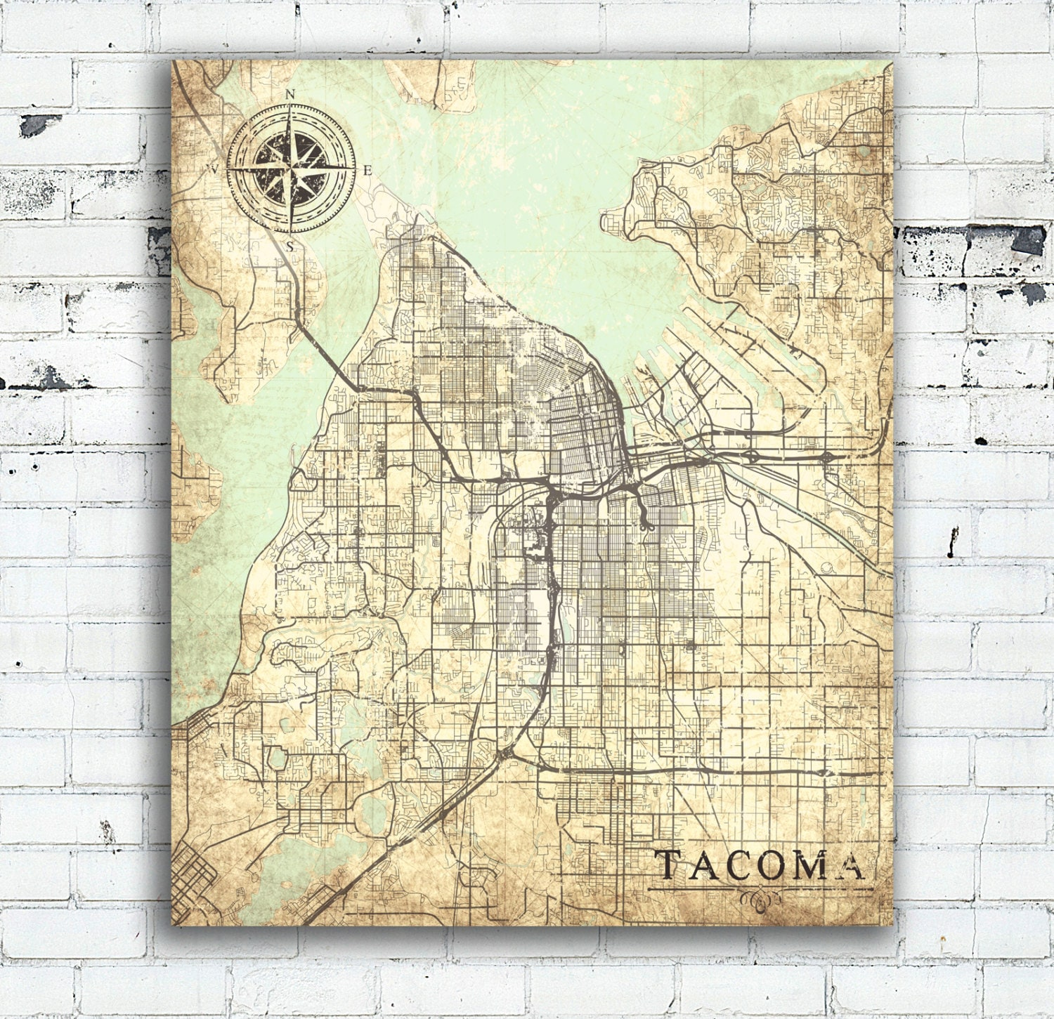 TACOMA WA Canvas Print Washington Vintage map Tacoma City