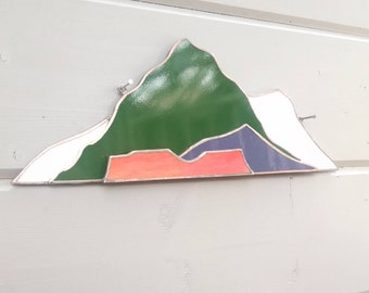 Stained Glass Mountainscape. Mountain Scene.