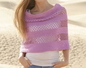 Women handmade crochet poncho / cape / capelet / shoulder warmer with lace in cotton , size S/M- L/XL-XXL/XXXL