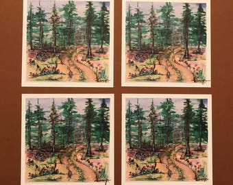 christmas forest path, watercolor, print notecards