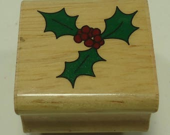 Holly And Berries Wood Mounted Rubber Stamp, Holiday