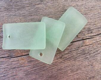 Sea Glass Curved Rectangle Sea Foam Green Pendant Earrings 33mmx19mm (2)