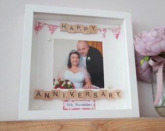 Happy anniversary scrabble gift frame