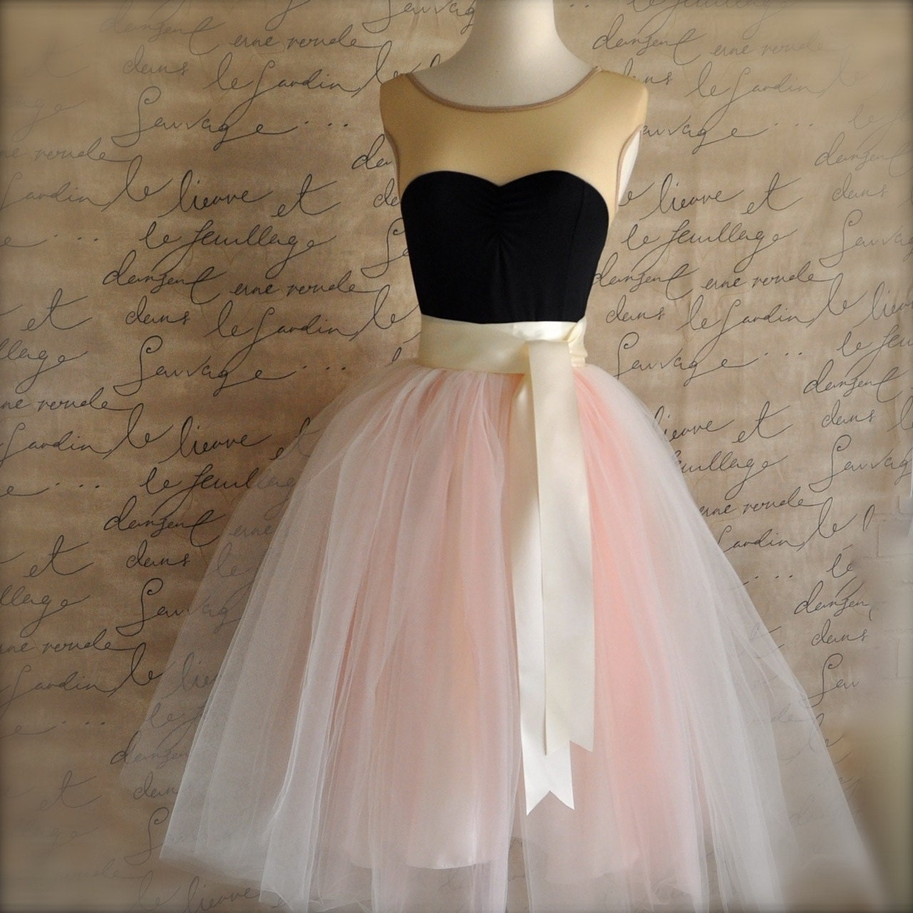 Womens blush tulle skirt. Ivory and antique pink tulle lined