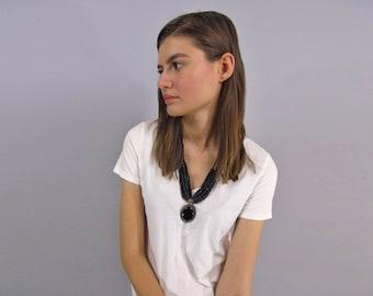 Vintage 70s Boho Necklace, Onyx Pendant Necklace, Wood Beaded Necklace, Boho Jewelry, Hippie Necklace