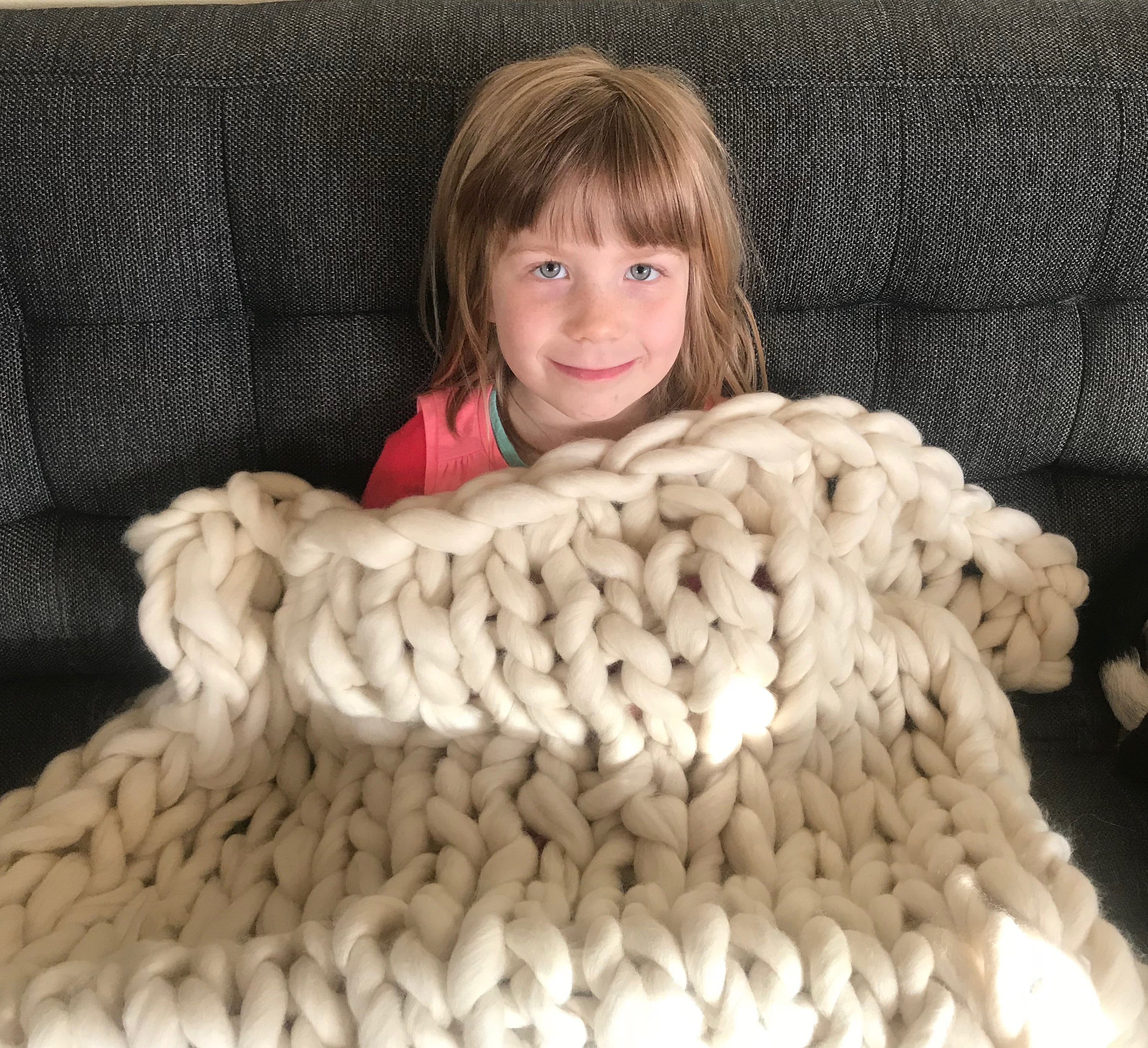 Giant knit wool throw blanket - hand knit with wool roving approximately 30x50 inches