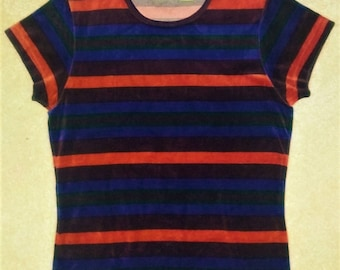 Vintage The Limited Velvety Velour Striped Fitted Tee Women's Size Medium