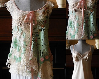 Hand crocheted doily top tunic blouse size small-med hand dyed repurposed shabby chic bohemian wearable art