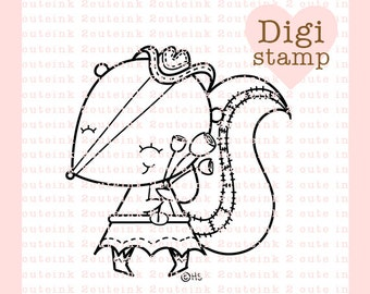 Country Girl Skunk Digital Stamp for Card Making, Paper Crafts, Scrapbooking, Hand Embroidery, Invitations, Stickers, Coloring Pages