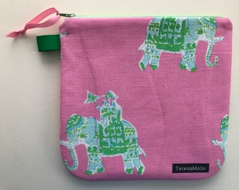 Medium Pink Elephant Zip Pouch (Lily Pulitzer Fabric)