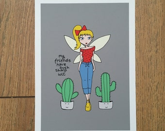 Fairy art print, cactus art print, funny fairy art, art for teen bedroom, fairy illustration, fairy decor