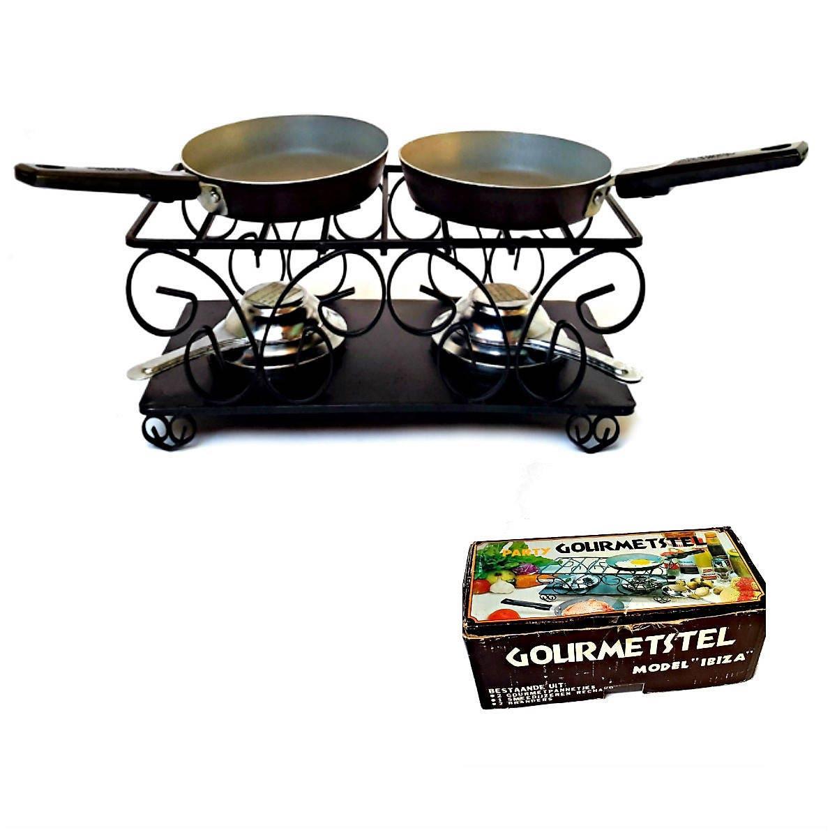 Gourmet-Raclette aus Gusseisen 2 im Lager Schwarz Stahl