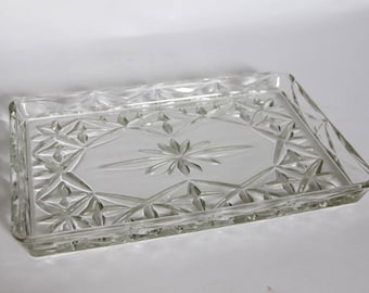 Vintage Glass Tray, Glass Tableware,  Romantic Cut Glass Dressing Table / Vanity Tray with Stunning Design, Relish Tray, Snack Plate
