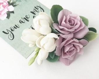 White flower hair clip violet rose hair piece wedding hair clip lilac hair barrette Mauve flower hair rustic wedding flower girl hair clip