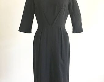 Vintage Dress, Black Wool Dress, Bombshell dress, Party Dress, 1955 Dress, Wiggle dress, Ira Rentner
