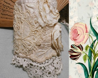 Lace Wrist Cuff Bridal Floral, Vintage Embroidered Cottons, Laces, and Handmade Flowers
