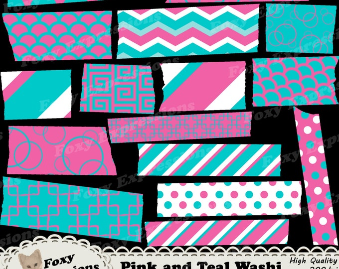 Pink and Teal Digital Washi Tape comes in chevron, stripes, polka dots, greek swirls, chains, scales & bubbles. Personal or commercial use.