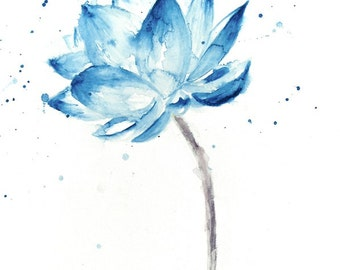Lotus Print, Lotus Painting, Lotus Flower Wall Art, Lotus Watercolor, Blue Lotus, Watercolor Lotus, Lotus Wall Art, Watercolor Flowers