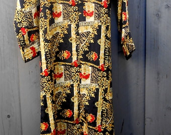 Vintage 80s Lounge Robe Black,Gold, and Red