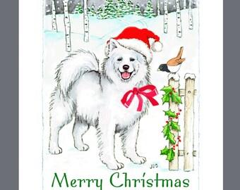 Samoyed Dog Christmas Cards Box of 16 Cards and 16 Envelopes