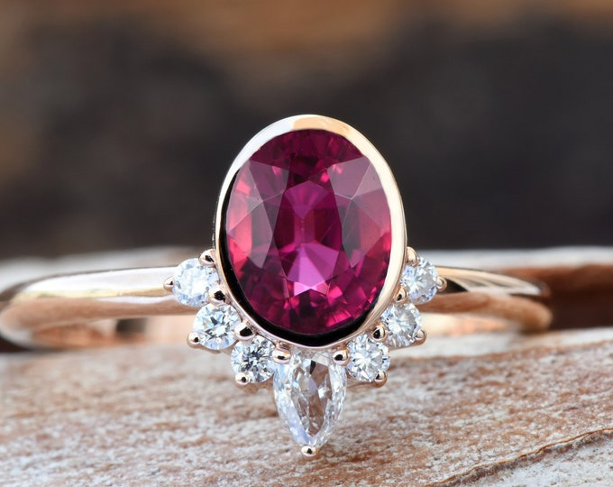 Featured listing image: Pink tourmaline ring-Rose gold engagement-Diamond vintage ring-Promise ring-Oval shaped tourmaline engagement ring-Cluster engagement ring