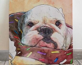 Custom Pet Portrait, Dog Memorial Portrait on Canvas, Pet Painting, Pet Memorial, Pet Loss Gift, Dog Lover Gift, Dog Illustration