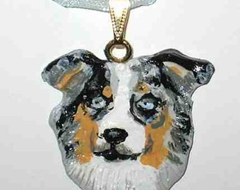 Dog Breed AUSTRALIAN SHEPHERD Handpainted Clay Necklace/Pendant CHOOSE Merle or Tri Color