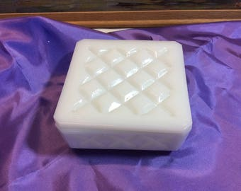 Vintage Milk Glass Diamond Pattern Trinket Box Candy Dish Special Gift Box with Lid!