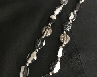 Mexican Jasper natural Black and White gemstone necklace with decorated Silver beads