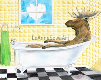 Moose Painting, Moose Prints, Moose Art, Moose Bath Print from Original watercolor by LeAnne Sowa