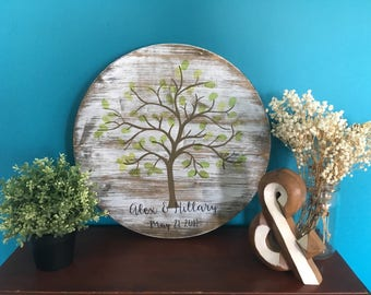 Hand-Painted Whitewashed Wooden Thumbprint Wedding Guestbook