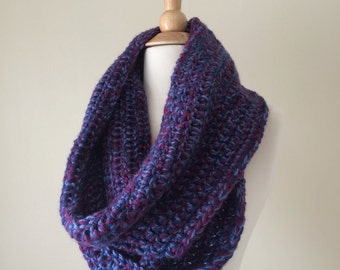 Bulky Blue and Grape Crochet Infinity Scarf
