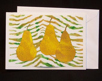 Note Card - Pears on Zebra Striped background - Gelli Print Collage