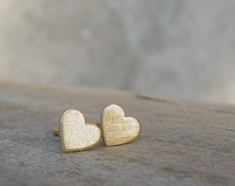 Gold Studs Earrings, Heart Gold Earrings, Gold Stud Earring, Gold Heart Studs, Stud Earings, Heart Studs, Gold Hearts Stud Earrings